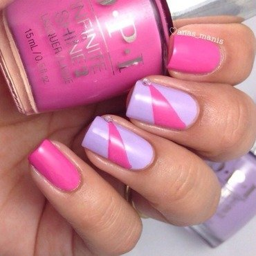 Pink triangles  nail art by anas_manis