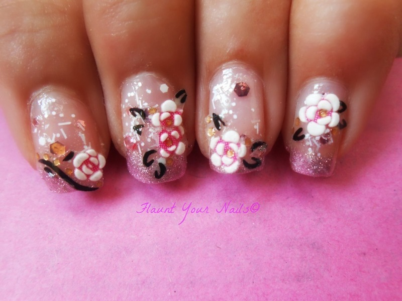 Pink Floral Nails nail art by Vidula Kulkarni