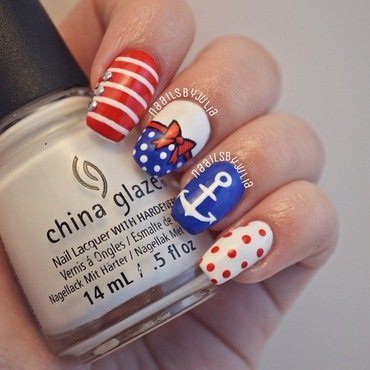 Nautical nails nail art by Julia