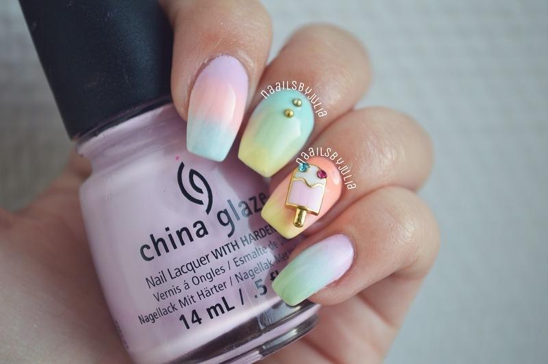Ice cream nails nail art by Julia
