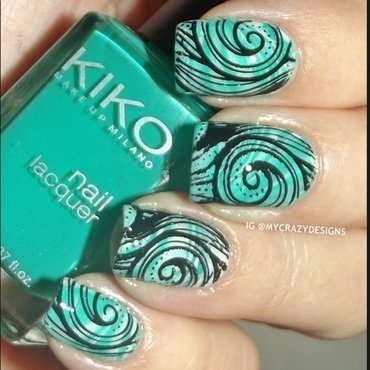 Stamping + water marble nail art by Mycrazydesigns