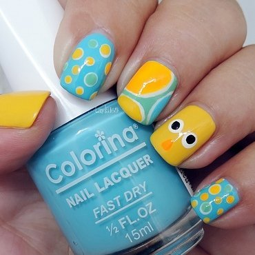 Easter Chick nail art by Iliana S.