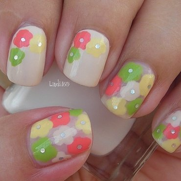 Think Spring Flowers nail art by Iliana S.