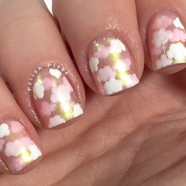 Pink Clouds nail art by Crystal Bond