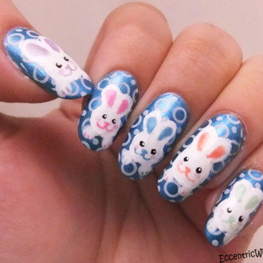 Easter Bunnies nail art by Kelly