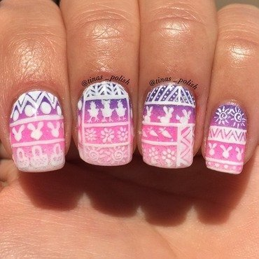 Easter tribal  nail art by Christina