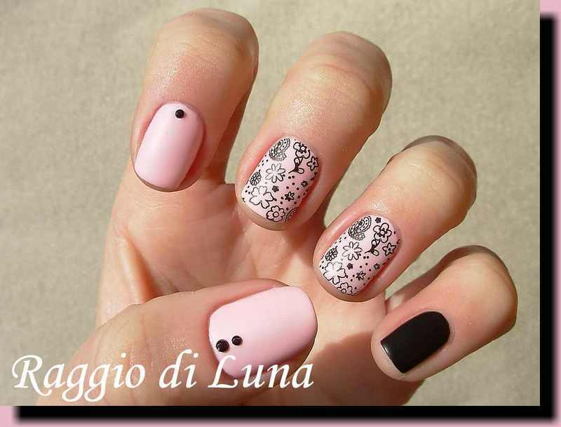 Stamping: Cute black flower stamping on light pink nail art by Tanja