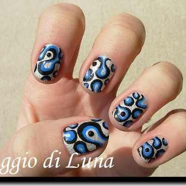 Abstract black & blue on white nail art by Tanja