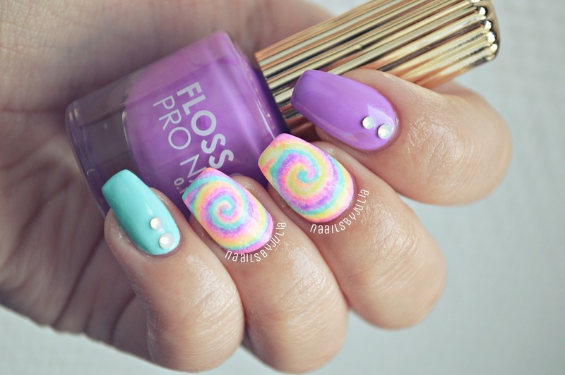 Floss gloss Wavepool, China Glaze Pink voltage, Floss gloss Lean, and China Glaze Sun upon my skin Swatch nail art by Julia