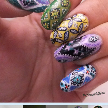 Traditional Pyansky Eggs nail art by Kelly