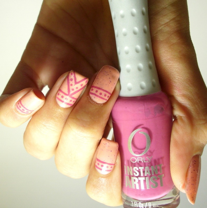 pink stripes & dots nail art by irma