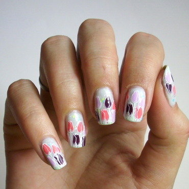 tulips - stamping decals nail art by irma
