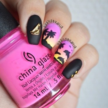 Tropical nailart nail art by Julia