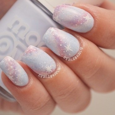 Pastel galaxies nail art by Julia