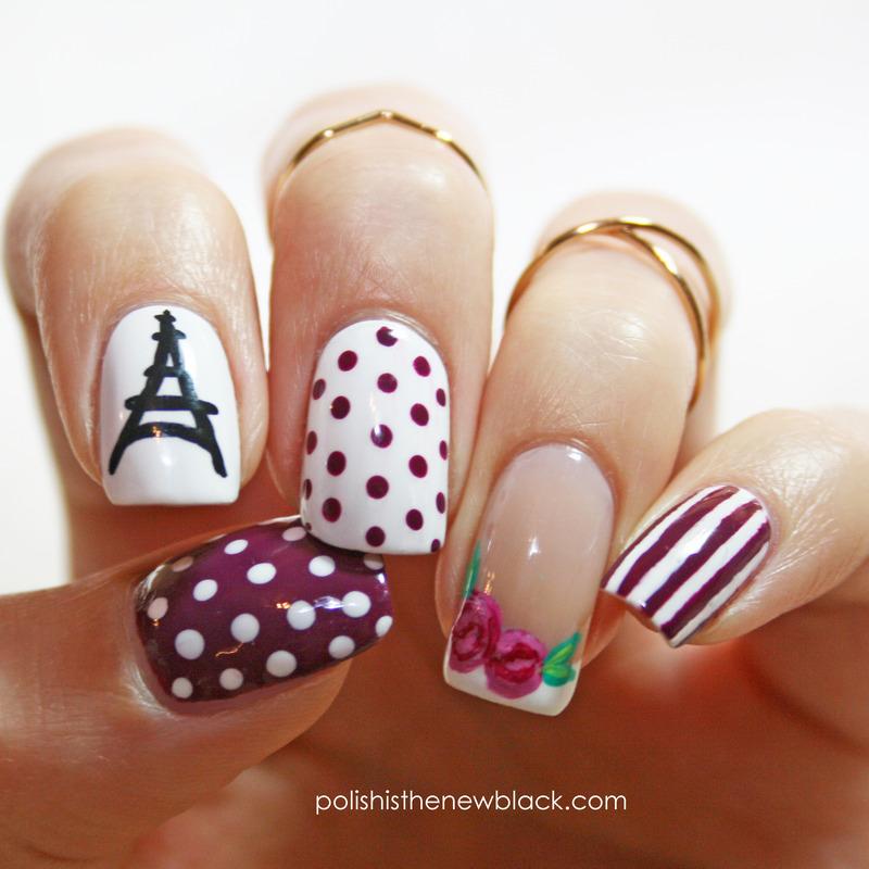 Parisian Nails nail art by Polishisthenewblack