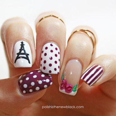 Parisian Nails nail art by Polishisthenewblack