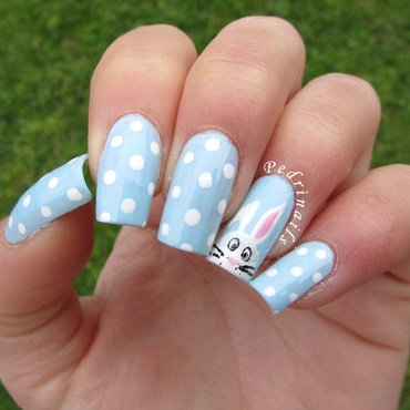Easter nail art - polka dots accent manicure nail art by Pedrinails