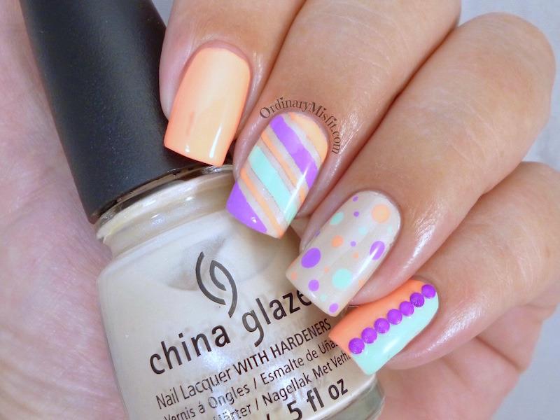 Summer skittle nail art by Michelle