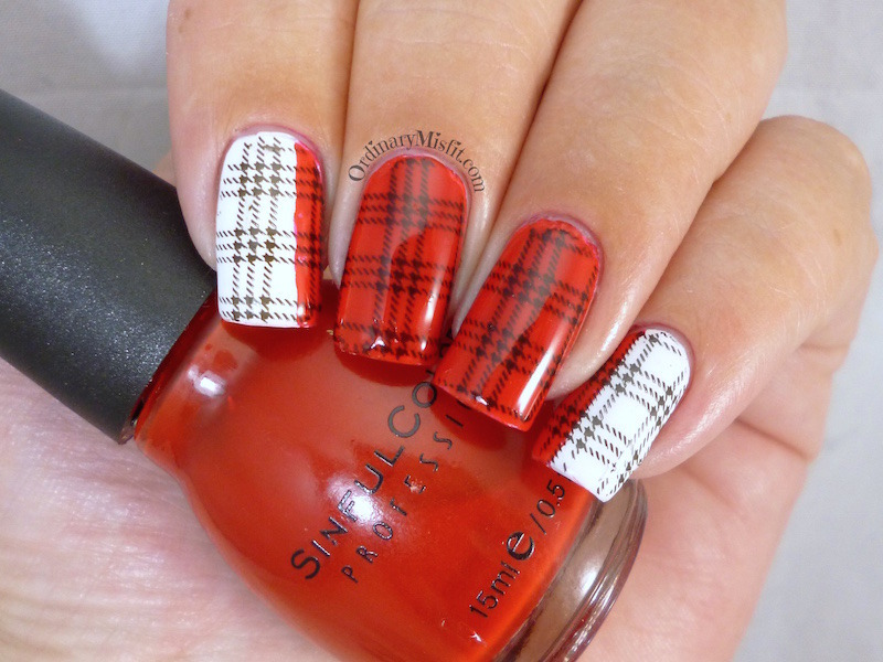Red and white plaid nail art by Michelle