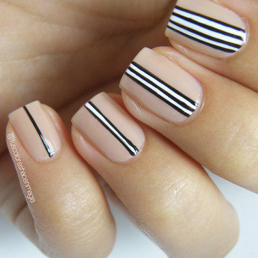B&W Stripes nail art by Michelle Mullett