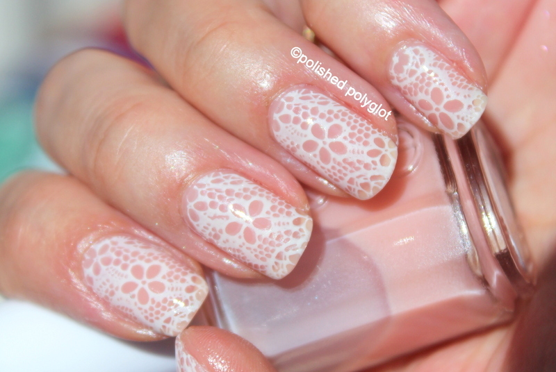 White lace for Wedding Season nail art by Polished Polyglot