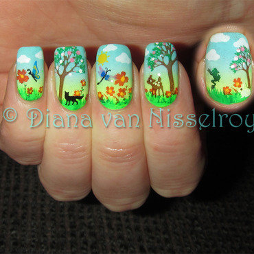 Beautiful Spring Day nail art by Diana van Nisselroy