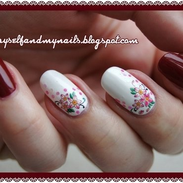 Flowers and wine nail art by ELIZA OK-W