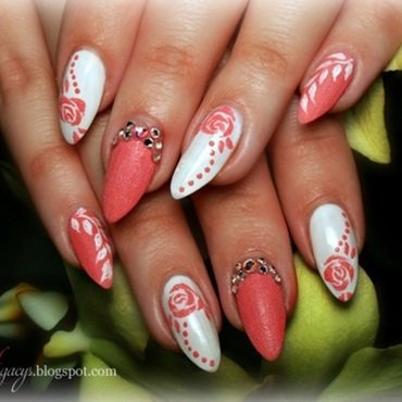 Rose manicure nail art by Agacys