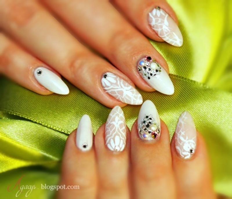 White and a little bit of glitter nail art by Agacys