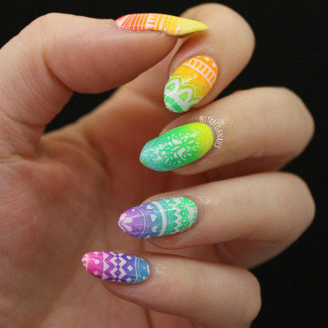 Neon Easter Eggs nail art by Lisa Yabsley