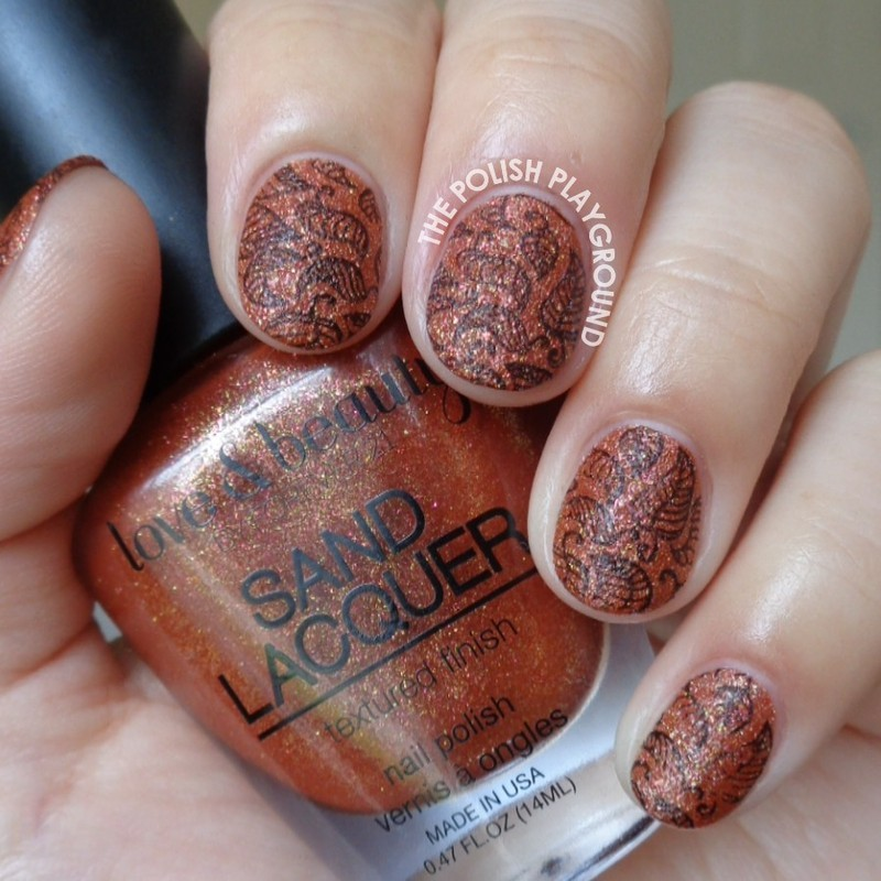 Burnt Gold Texture with Black Leaves Stamping nail art by Lisa N