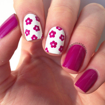 Pink Flowers nail art by NailThatDesign
