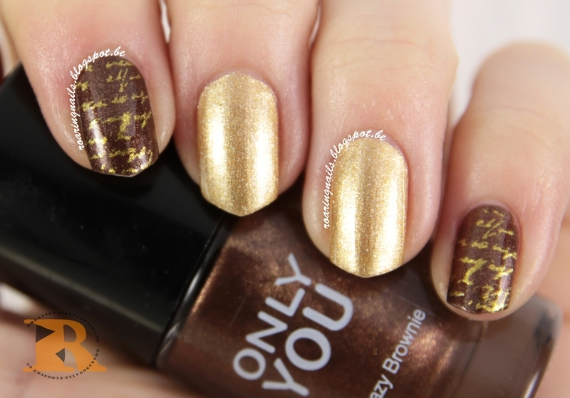 Gold Stamping - Handwriting nail art by Robin