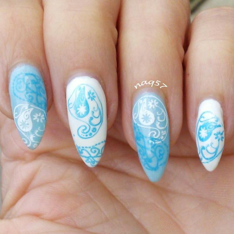 Baby Blue Paisley Nail Art By Nora (naq57)