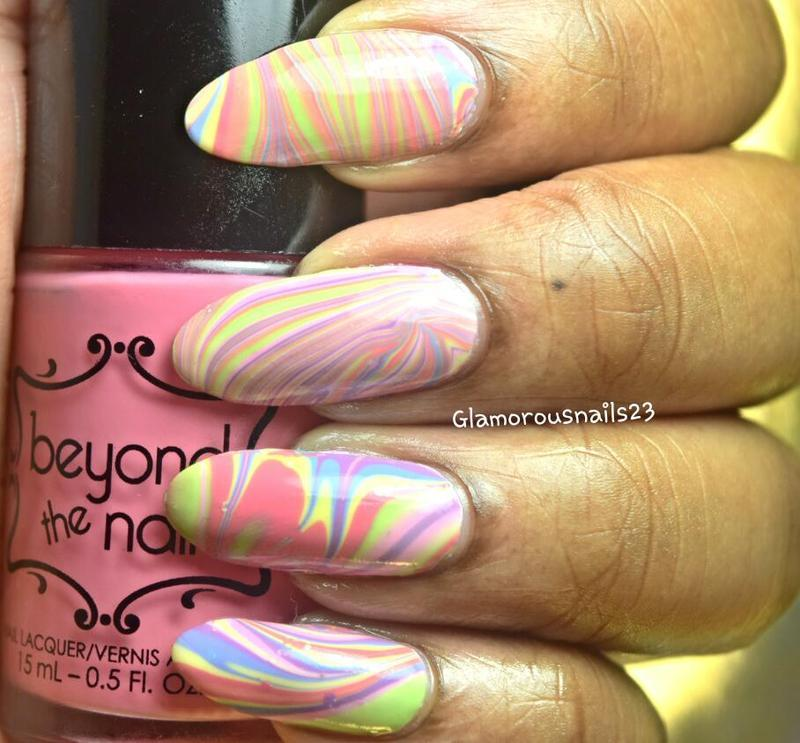 Easter/Spring Watermarble nail art by glamorousnails23
