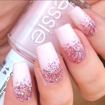 Pink glitter gradient  nail art by Virginia