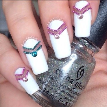Negative space & bling  nail art by Virginia