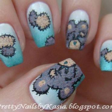 Teddy Bear nail art by Pretty Nails by Kasia