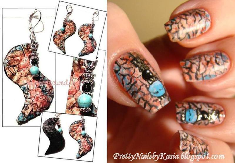 Inspired by artwork - earrings by Dawn Rowe nail art by Pretty Nails by Kasia
