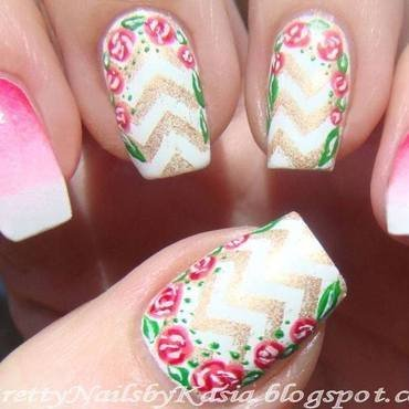 Spring chevrons nail art by Pretty Nails by Kasia