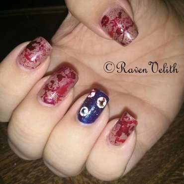 Eyeball Splatter nail art by Lynni V.