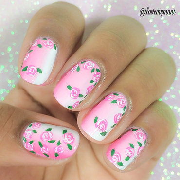 Gradient Nails plus flowers nail art by Gabrielle