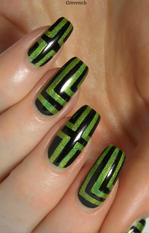 Green Right Angles nail art by greeench
