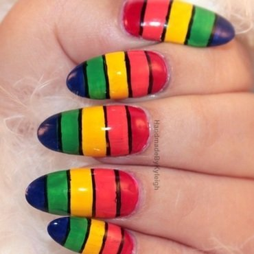 Banded Ombre nail art by  Kyleigh  'Handmade By Kyleigh'