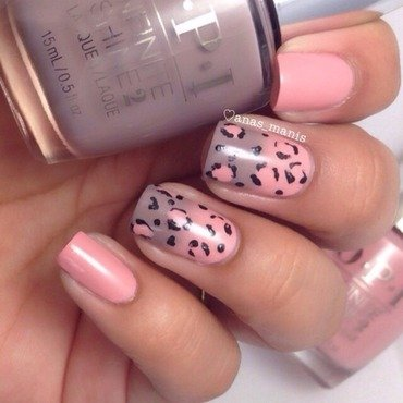 Gradient and leopard print nail art by anas_manis
