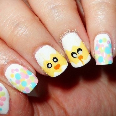 Easter Chickens nail art by Melany Antelo