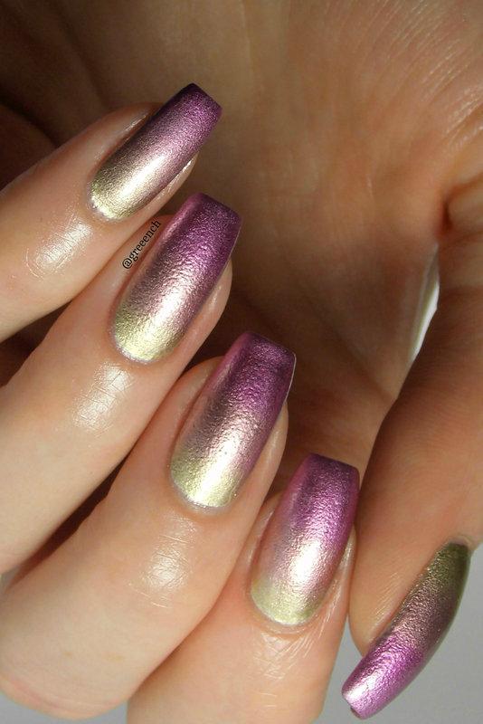 Liquid Metal Gradient nail art by greeench