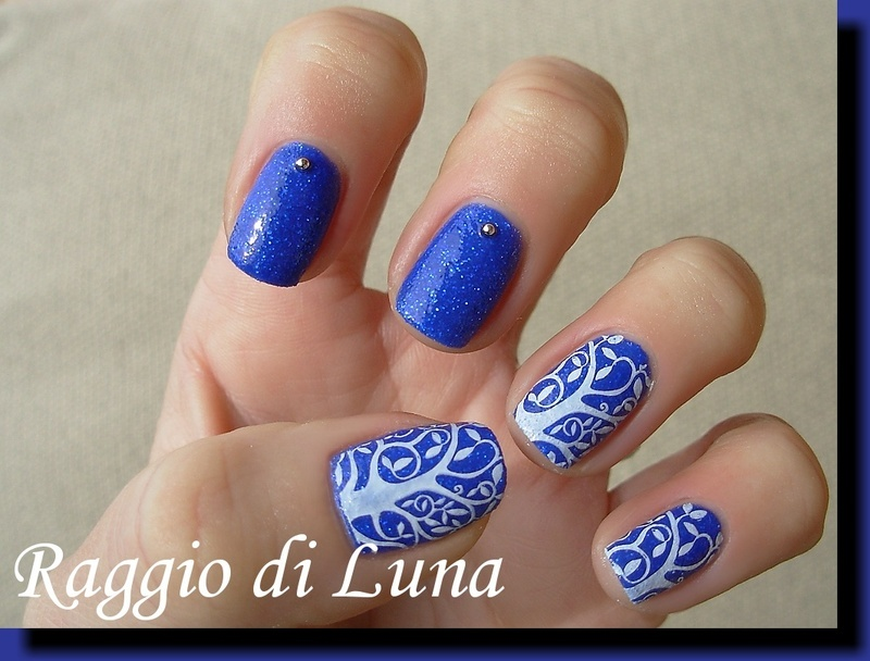 Stamping White Tree On Cobalt Blue Nail Art By Tanja Nailpolis