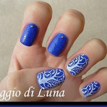 Stamping: White tree on cobalt blue nail art by Tanja