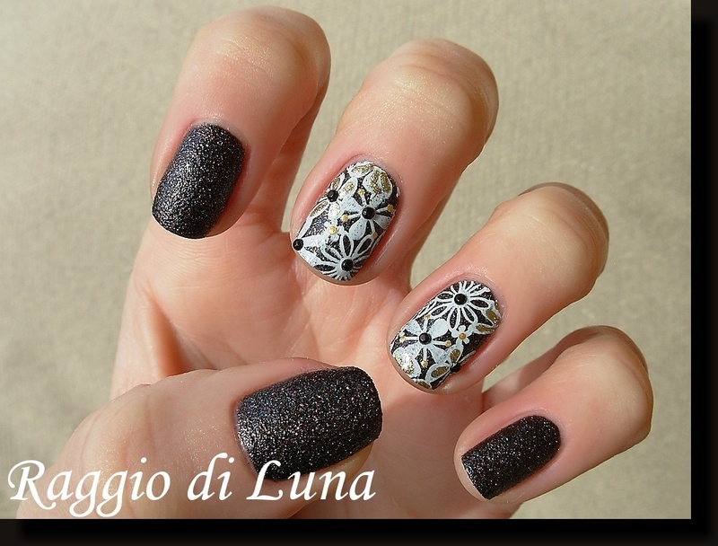 Stamping: White and golden flowers on dark brown nail art by Tanja